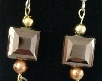 Clearance! Heart earrings, wire wrapped earrings, square earrings, gift, glass square bead earrings, gift idea, gold and silver earrings
