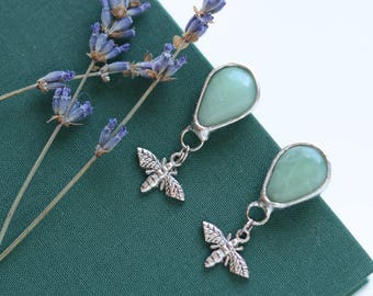 green aventurine earrings //nickelfree // moth