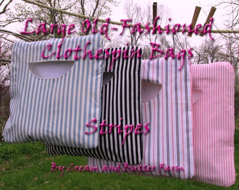 Great-Granny's Striped heavy lined clothespin bag; Custom Made or Ready-to-ship; extra sturdy peg bag; off-grid laundry, Stays on the line