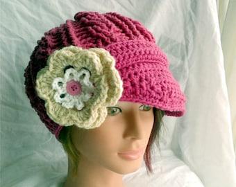 PDF PATTERN ONLY Newsboy Flower Hat