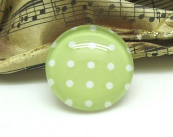 1 cabochon 25 mm glass green Pastel dots - 25 mm