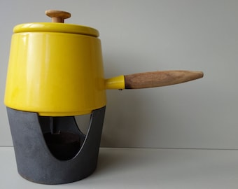 Copco Cookware Denmark USA Holland Michael Lax fondue set enamel cast iron ochre yellow mid century modern