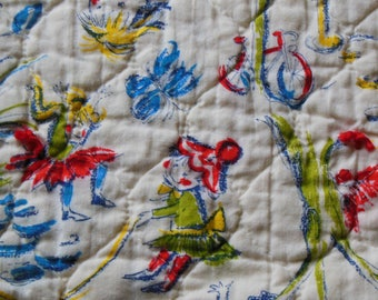 Adorable Fairies Print Baby Quilt with Satin Trim in Yellow