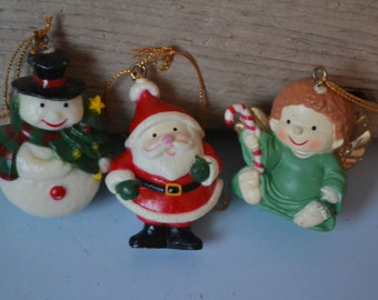 Vintage Christmas Ornaments, Santa, Snowman, Angel | 3 Pieces