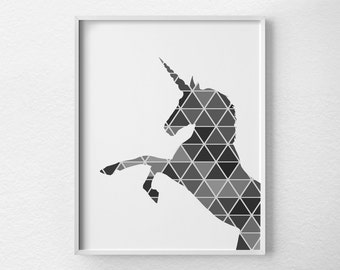 Geometric Unicorn Print, Unicorn Art, Unicorn Silhouette, Unicorn Poster, Nursery Decor, Fantasy Art, Geometric Art, Modern Decor, 0329