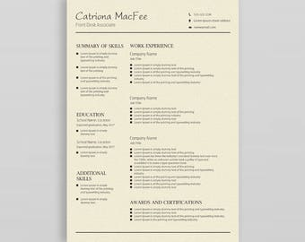 Modern Resume  Professional Resume Template  Resume Template Word   CV Design  Resume Template Creative   Resume Template Instant Download