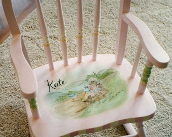 bow back rocking chair, child's rocker, hand painted rocking chair, kids furniture