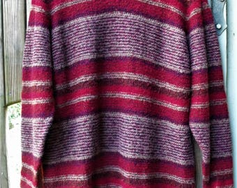Bulky Knit Sweater/ Chenille Knit Pullover/ 2X Sweater/ Acrylic-Wool/ Funky Stripe/ Thrift Couture/ Retro Pullover/ Shabbyfab Funwear