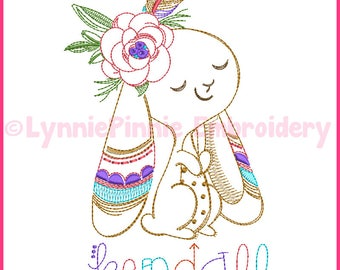 Colorwork Tribal Bunny Vintage ColorWork Girl Sketch Machine Embroidery Design File 4x4 5x7 6x10 4 sizes