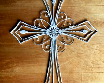 Large Cross, Farmhouse Style, Rustic Cross, Ornate Cross, Religious Celebrations, White Cross, Religious Art, Decorative Cross, Crucifix