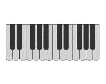 Piano Keys Music Notes Melody Tune Embroidery Design