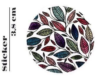 Round Sticker Floral Leaf Illustration 3,8 cm (P01 020)