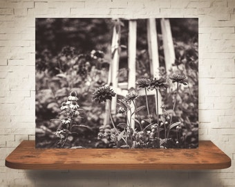 Flower Garden Photograph - Black White Photography - Fine Art Print - Neutral Decor - Flowers - Floral Pictures - Wall Art Gifts
