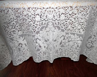 Lace Tablecloth Vintage Quaker Lace Overlay Lace Tablecloth Romantic Cherubs and Lovers ECS SVFT