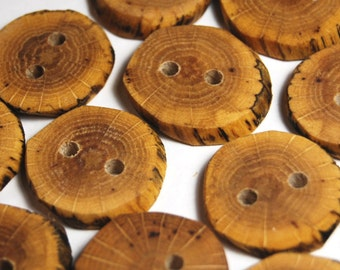 Handmade Buttons, Rustic Wooden Buttons, Craft Buttons for Sewing, Knitting, Oak Wood Buttons, Under 1 Inch, Set of 12