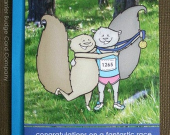 Trail Runner Squirrel - Congrats Greeting Card - Celebrating Runners in all their Glory