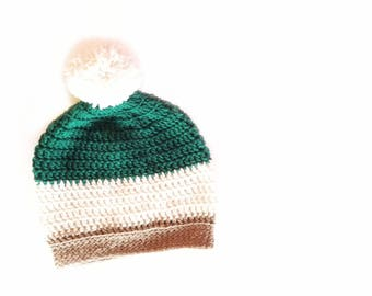 """Slouch Hat   Small 20"""" Size, Slouchy Pom Pom, Over sized Hat, Slouchy Beanie, Pom Pom Beanie, Crochet Pom Pom Beanie, Crochet Beanie"""