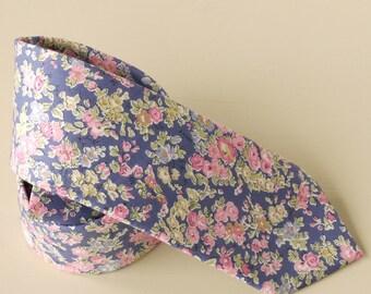 Floral Liberty print tie - Tatum design - floral tie - floral wedding tie - blue tie - pink tie - mens floral tie - Liberty