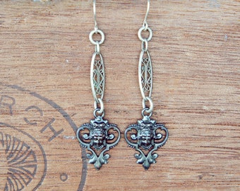 Artisan Boho Earrings with Neoclassical Drops and Antique French Watch Chain Links