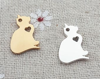 20pcs  Silver & Gold Cat Charm Pendant Animal charms DIY Jewelry supplies