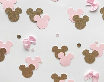 Minnie Mouse Confetti, Two Colours, Minnie Mouse Inspired, Party Decorations, Baby Pink and Gold Glitter, other colours available