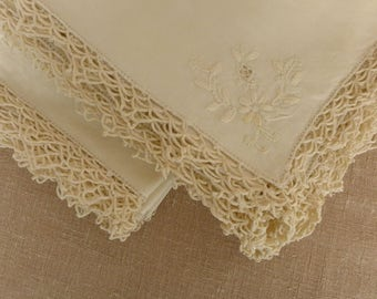 Set of 12 Antique Embroidered Linen Dinner Napkins