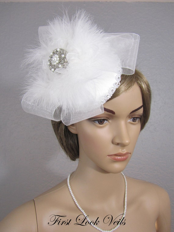 Bridcage Bridal Veil, White Fascinator, Women's Hat, Bridal Hat, Mother Of The Bride Gift, Feather Hat, Bling, Bow Cage Veil, Bridal Attire