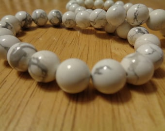 Perles Howlite blanche 10mm rond - brin complet Pierre véritable