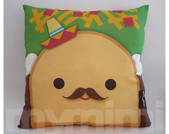 "12 x 12"" Food Pillow, Taco Pillow, Sombrero Pillow, Mexican Food, Throw Pillow, Kawaii, Kids Cushion, Room Decor, Children's Toys"