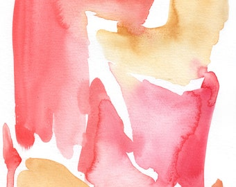 Pink and Orange Abstract Watercolor Print