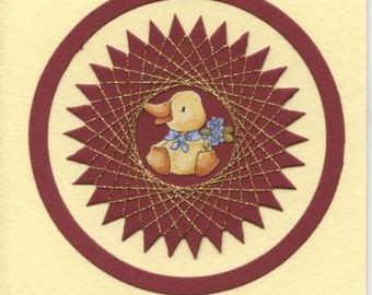 Greetings card with duckling design