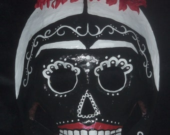 Black White and Red Frida Kahlo Dia De Los Muertos Day of the Dead Sugar Skull Mask