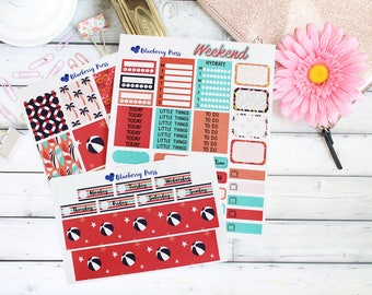 Tropical Summer Weekly Kit Planner Stickers | Perfect for Erin Condren Life Planner