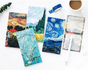 Van Gogh series memo pad, starry sky notepad, mini notebook, notepad, pocket notepad, planner accessories