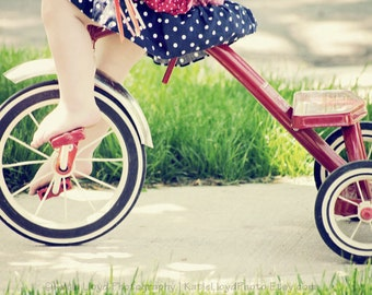 Americana Photography Print - Red White Blue Tricycle Nursery Little Girl's Bedroom Decor Photo