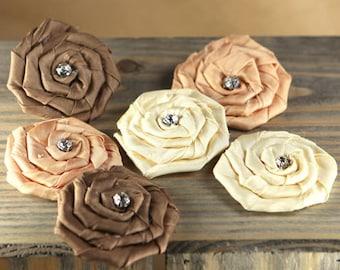 Prima Flowers: Allure  - 553111 Mocha cream caramel chocolate rhinestone fabric flowers. Rolled Rosette Rose Bud Neutral Fabric Flowers.