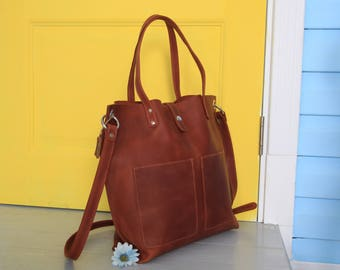 Leather Tote bag with zipper, Brown leather tote, Brown tote purse, Leather tote women, Handmade tote with zipper, Leather tote crossbody