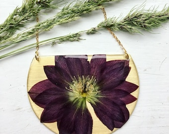 Lenten Rose brass statement necklace