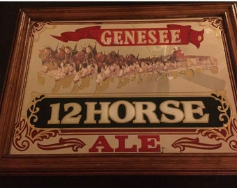 """1970 Genesse 12 Horse Ale Framed Mirror 23""""x17"""""""