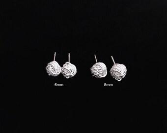 Love Knot stud earrings, 6mm Twill knot Stud, Sterling Silver Braid Ball Ear Studs, Knot Stud Silver earrings, Bridemaid Gifts