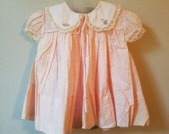Vintage Girls Pink Floral Dress with White Collar and Bloomers by C.I. Castro - Size 12 months- New, never worn