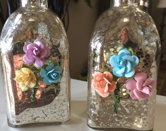 Decorative Mercury Vases, Mercury Glass Jars, Paper Flowers Accented, Sold as a Pair, Shabby Chic, Vintage, Vases, Accessory Piece, Gift
