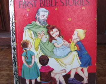 Vintage First Bible Stories, A Little Golden Book 1954, Illustrated by Eloise Wilkin, Childrens Bible Book