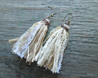 Bohemian Wedding Jewelry, Boho Wedding, Bohemian Bridal Earrings, Boho Shabby Chic Jewelry, White and Beige Tassel Earrings, Fiber Earrings
