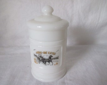 Vintage White Milk Glass Apothecary Jar with Lid Aire-De Luxe Pharmacy Jar Pharmaceutical Mecical Collectible Display Jar