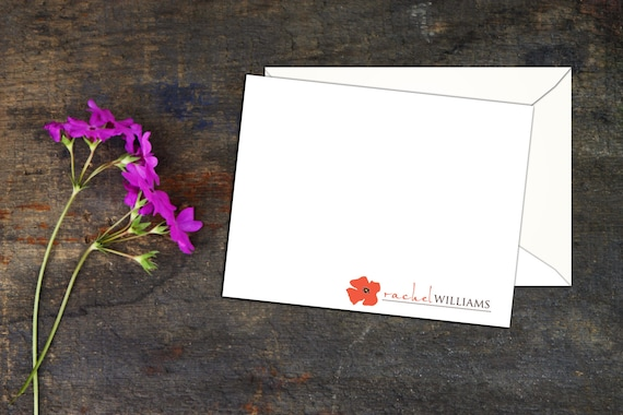 Pretty Poppy Personalized Note Cards (Set of 10) Flat Note Cards