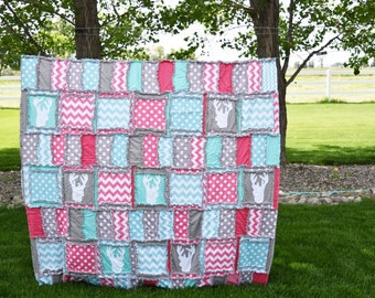 Woodland Girls Twin Bedding - Pink / Gray / Turquoise - Girl Deer Bedding - Woodland Twin Bed Hunting Quilt - Twin Size Quilt Bedspreads