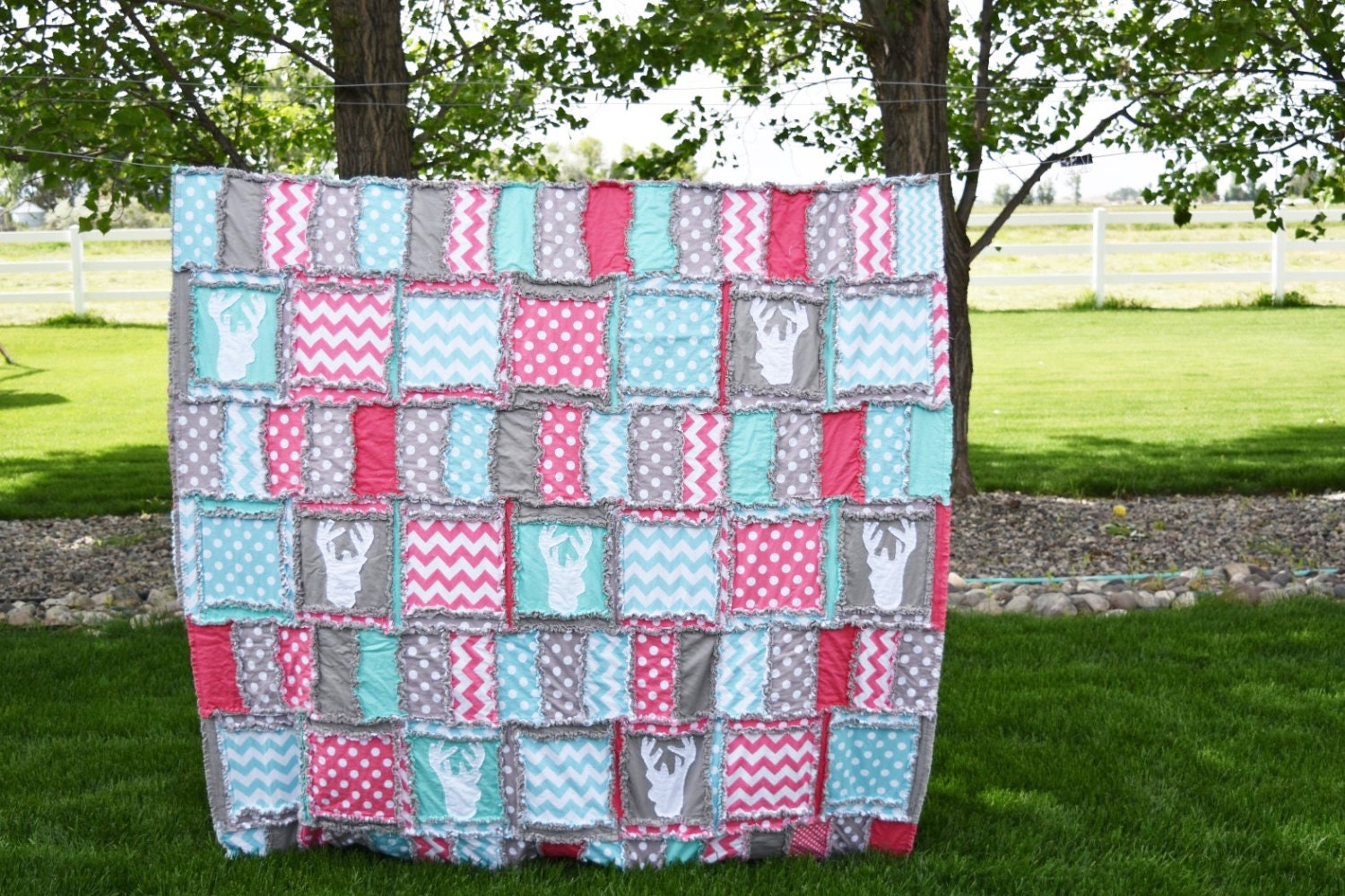Woodland Bedding Twin Size Quilt Pink / Turquoise / Navy : size of twin size quilt - Adamdwight.com