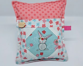 Sweet Bunnys Flower Patch - Deluxe Pincushion - Handmade - Pincushion with Pocket - Gift for Quilters - Gift for Sewers - Gift for Mom