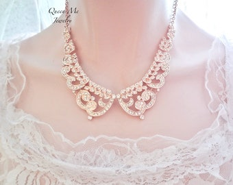 Rose gold crystal necklace Crystal collar necklace Rose gold crystal wedding necklace Rose gold necklace Crystal bib necklace Jewelry MIA